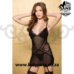 Queen Chemise Black Gartered 44
