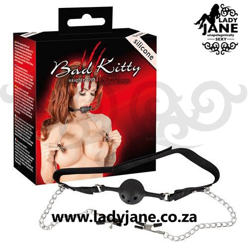 Bondage Ball Gag Bad Kitty | With Nipple Clamps