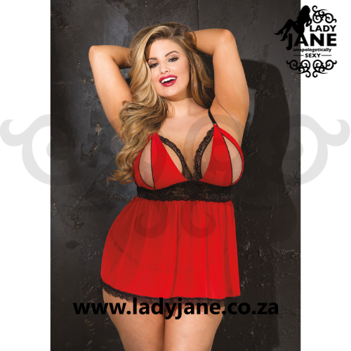 Babydoll Split Cup Red