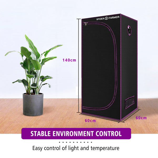 Spider Farmer 2'x2'x5' 60cm x 60cm x 140cm  Indoor Grow Tent - Spider Farmer LED