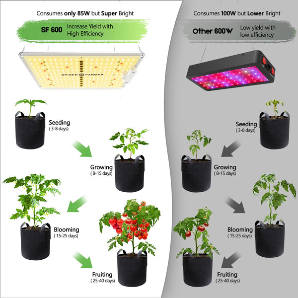 Spider Farmer SF-600 LED Grow Light Samsung Diodes