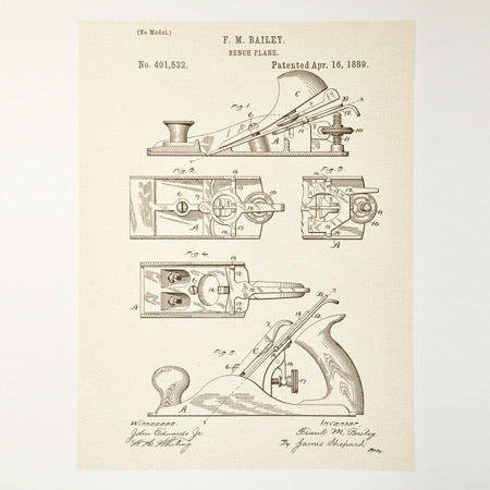 Hand Plane Patent Poster