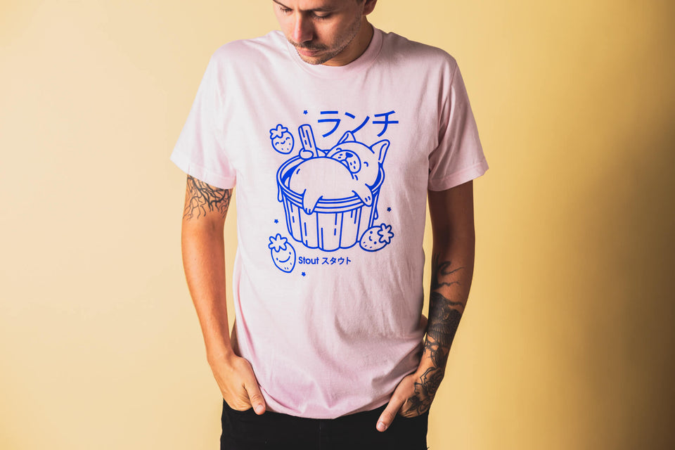 Man Wearing a French Bulldog Ice Cream Pink T Shirt