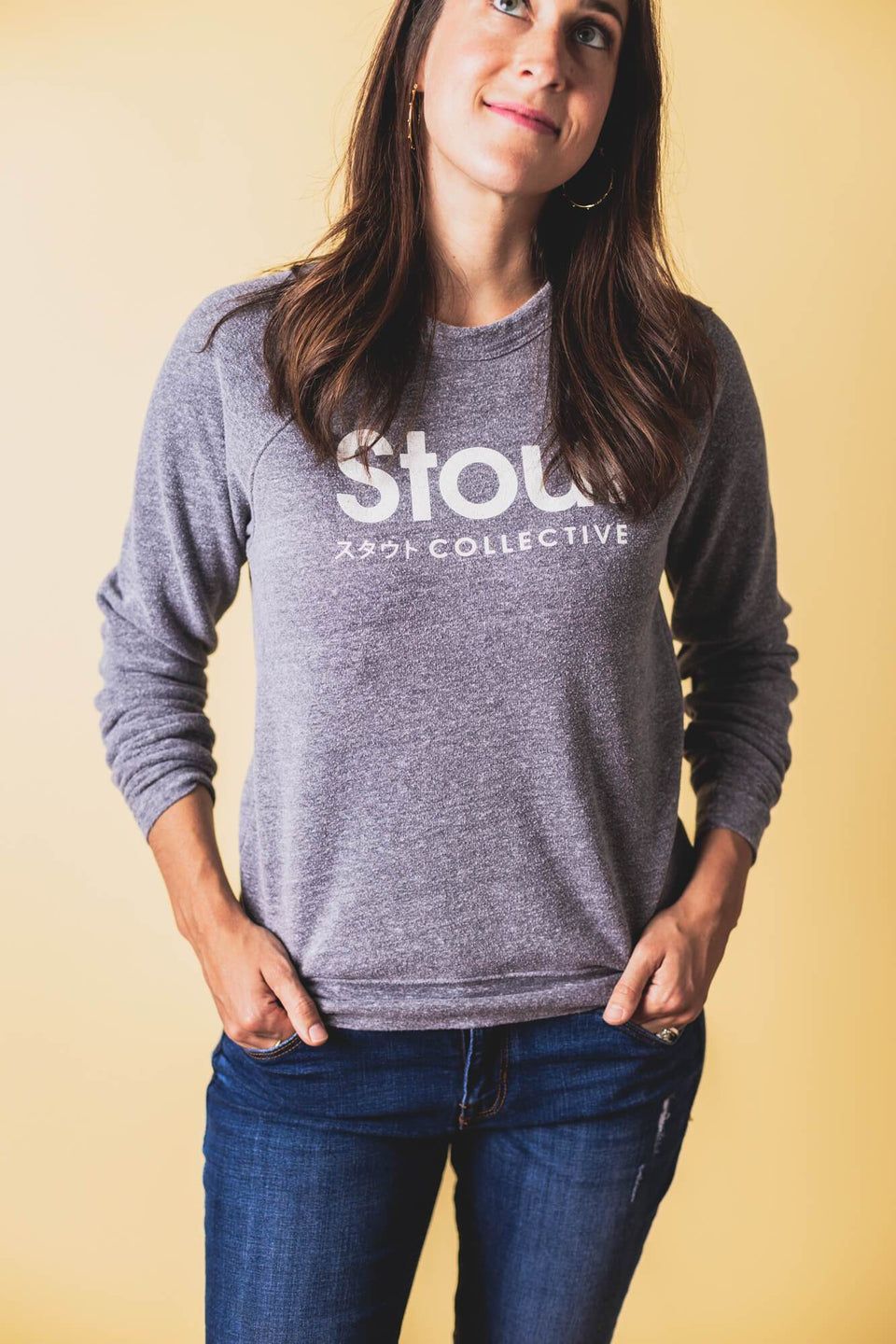 Woman Wearing Soft Crewneck Sweatshirt from Stout Collective