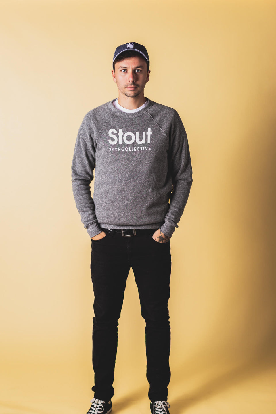 Man Wearing Soft Crewneck Sweatshirt from Stout Collective