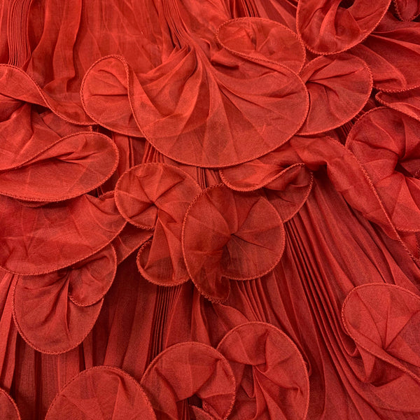 Marchesa red ruffled strapless mini dress