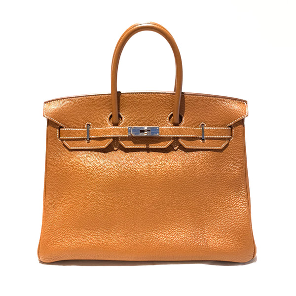 second hand cheap golden camel HERMÈS Birkin 35 tote bag