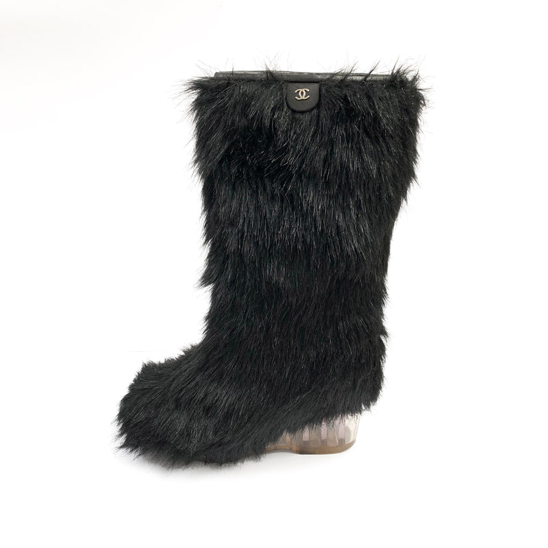 CHANEL black fur boots | size 37.5