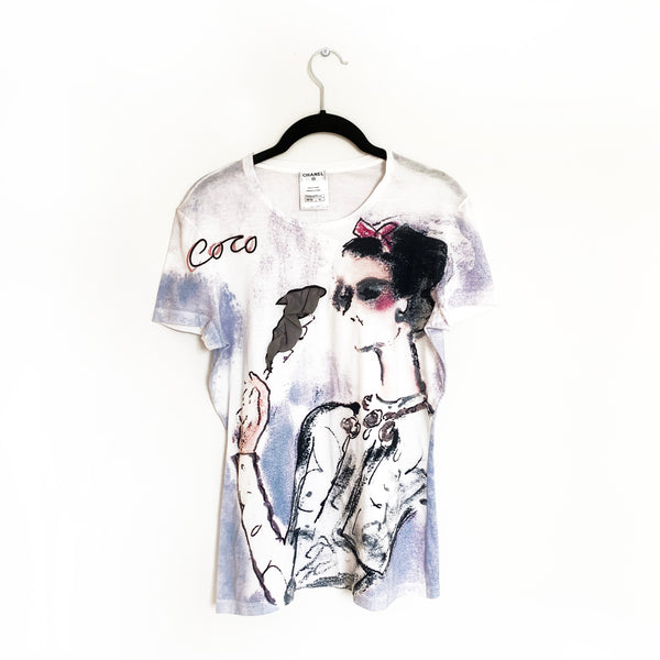 CHANEL white printed cotton T-shirt