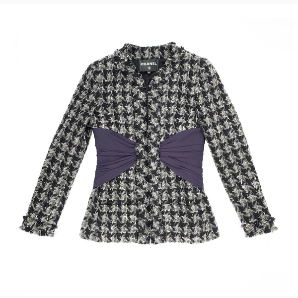 CHANEL HOUNDSTOOTH tweed JACKET with silk panels