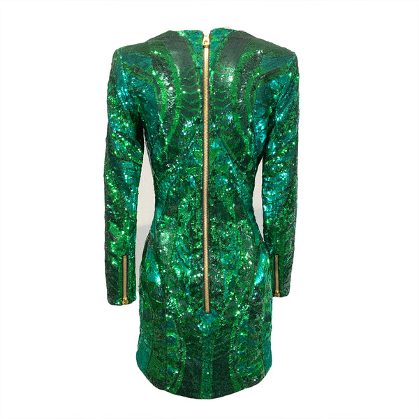 Balmain x H&M green sequin dress