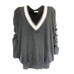 Brunello Cucinelli grey cashmere v-neck jumper