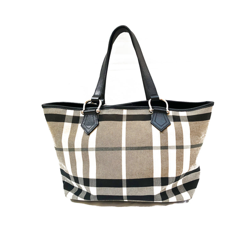 second hand grey beige BURBERRY small shopper