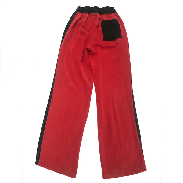 SERENA BUTE red and black silk joggers | size S