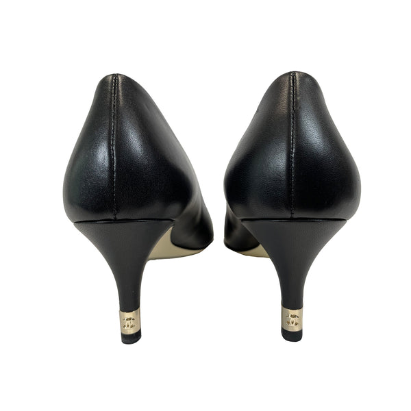 chanel black leather pumps | Size 37.5