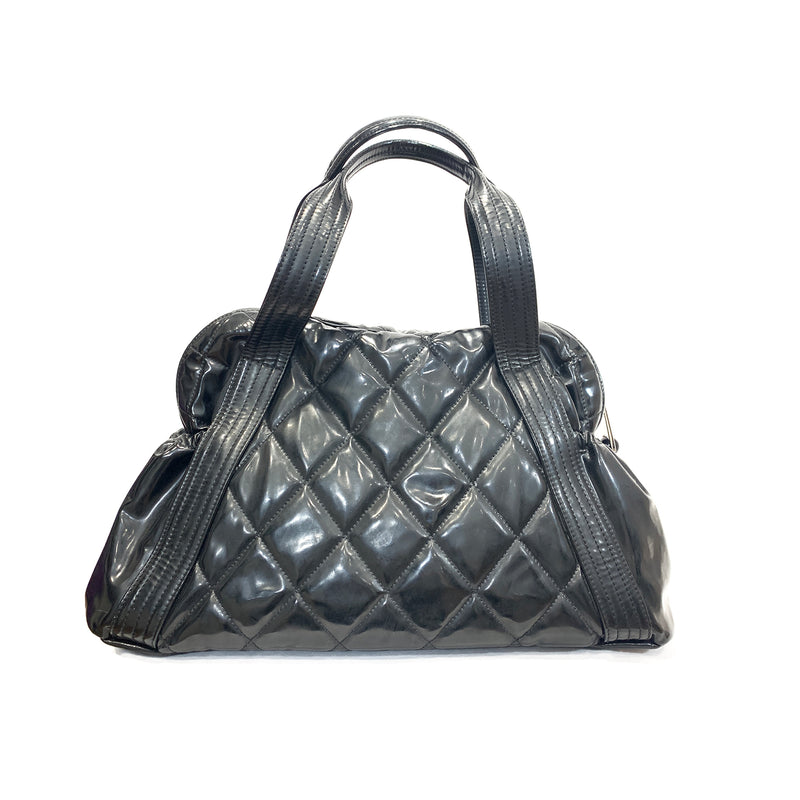Chanel patent leather black tote loop generation