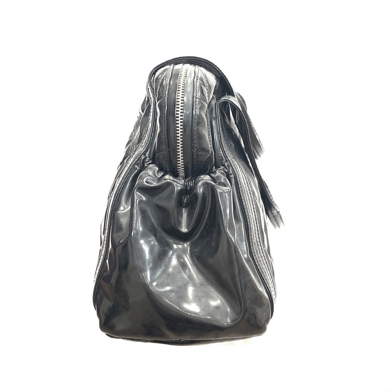 Chanel patent leather black tote sale