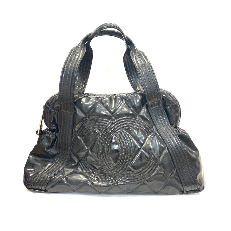 second hand Chanel patent leather black tote
