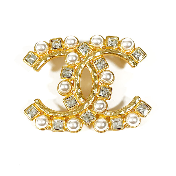 second hand Chanel gold pearl brooch