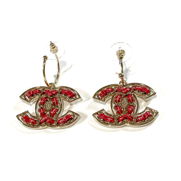Chanel second hand gold CC earrings with coral red leather braid