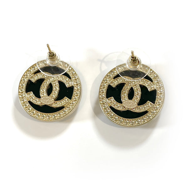 second hand Chanel CC black and gold pearl round costume jewellery earrings