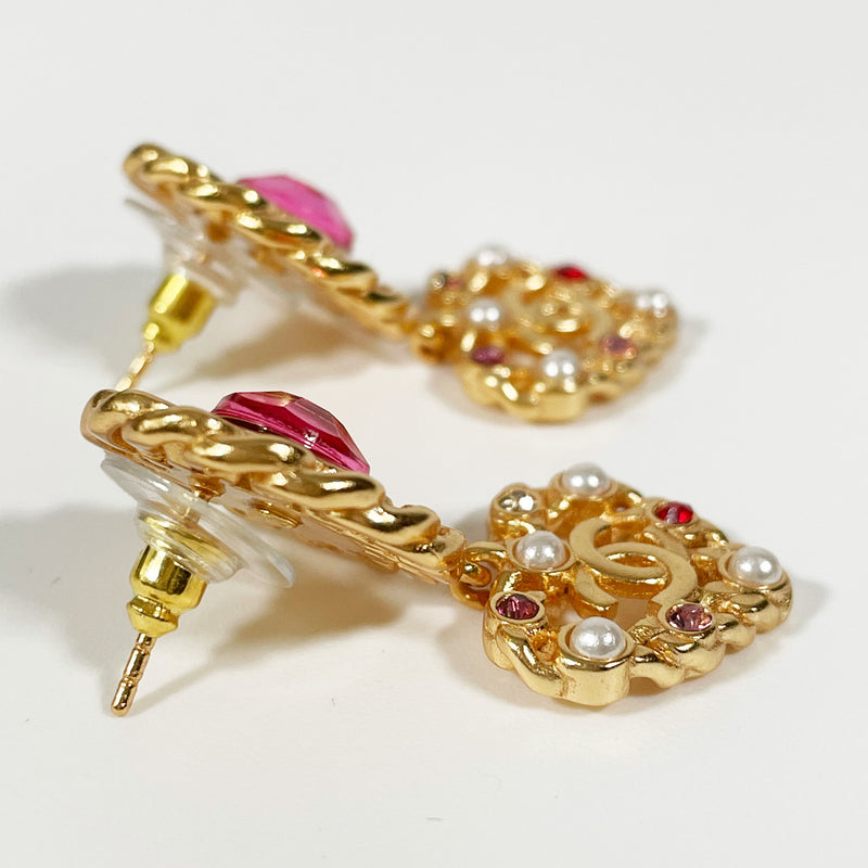 pre-owned Chanel CC gold earrings with pink diamantes