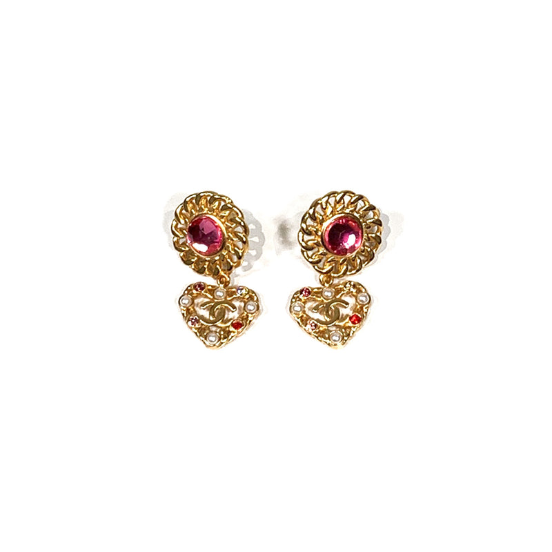 Chanel CC gold earrings with pink diamantes