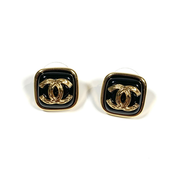second hand Chanel CC logo black earrings