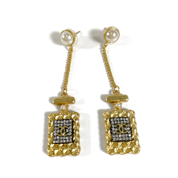Chanel No 5 Perfume Bottle Pearl Earrings