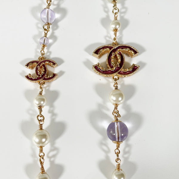 Chanel rose gold necklace with purple stones and pearls