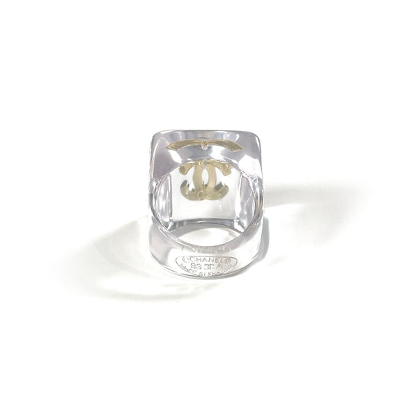 Chanel vintage plastic transparent ring with gold CC