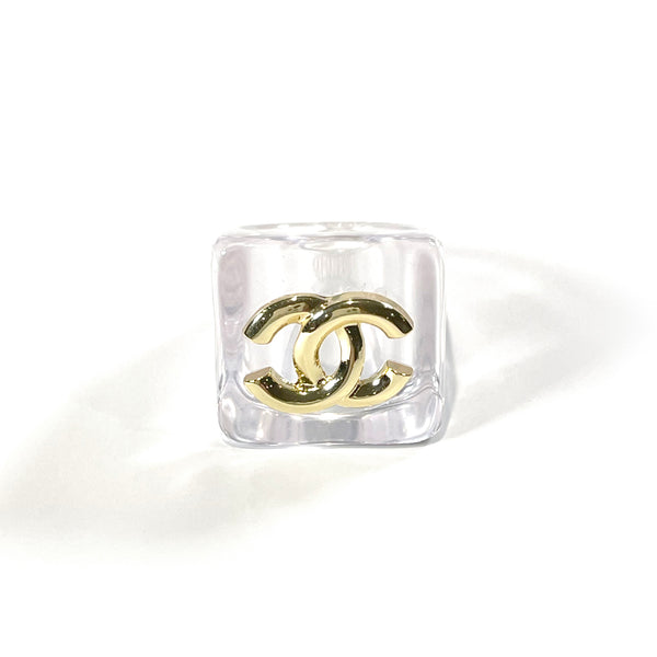 Chanel plastic transparent ring with gold CC