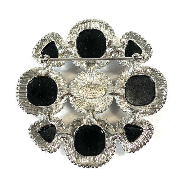 used Chanel silver and black brooch