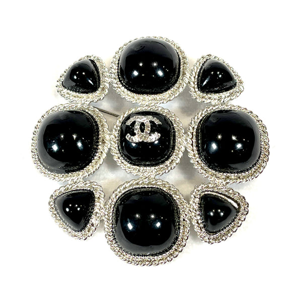 second hand Chanel silver and black brooch
