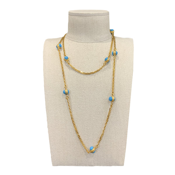Chanel gold necklace with blue stones