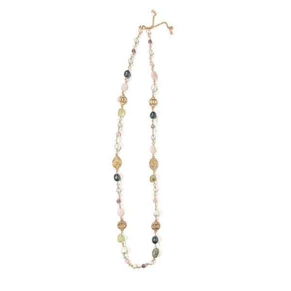 Chanel pearl, amethyst and quartz costume jewellery necklace