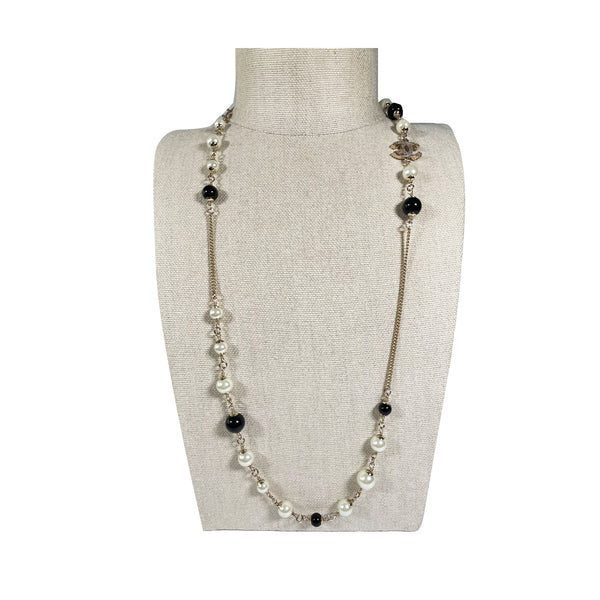 pre-loved Chanel CC  pearl necklace with black stones
