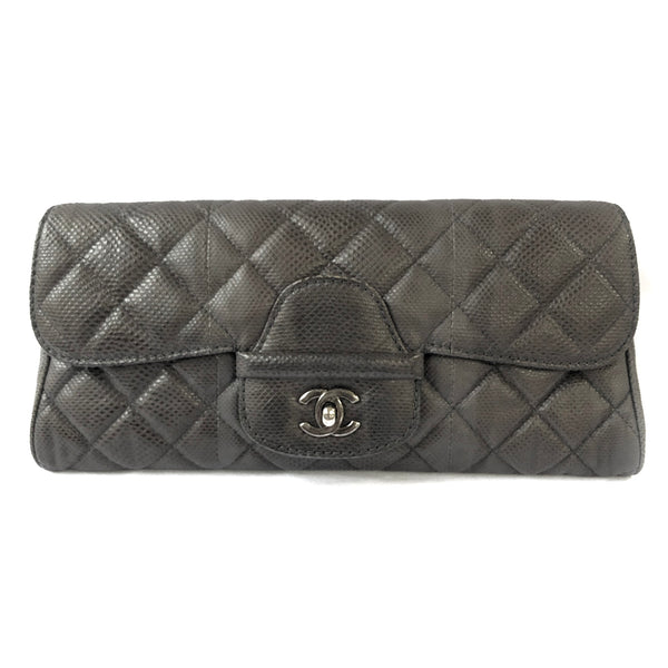 Chanel anthracite exotic leather clutch