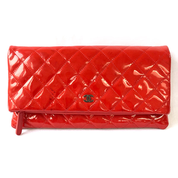 Chanel red patent leather clutch
