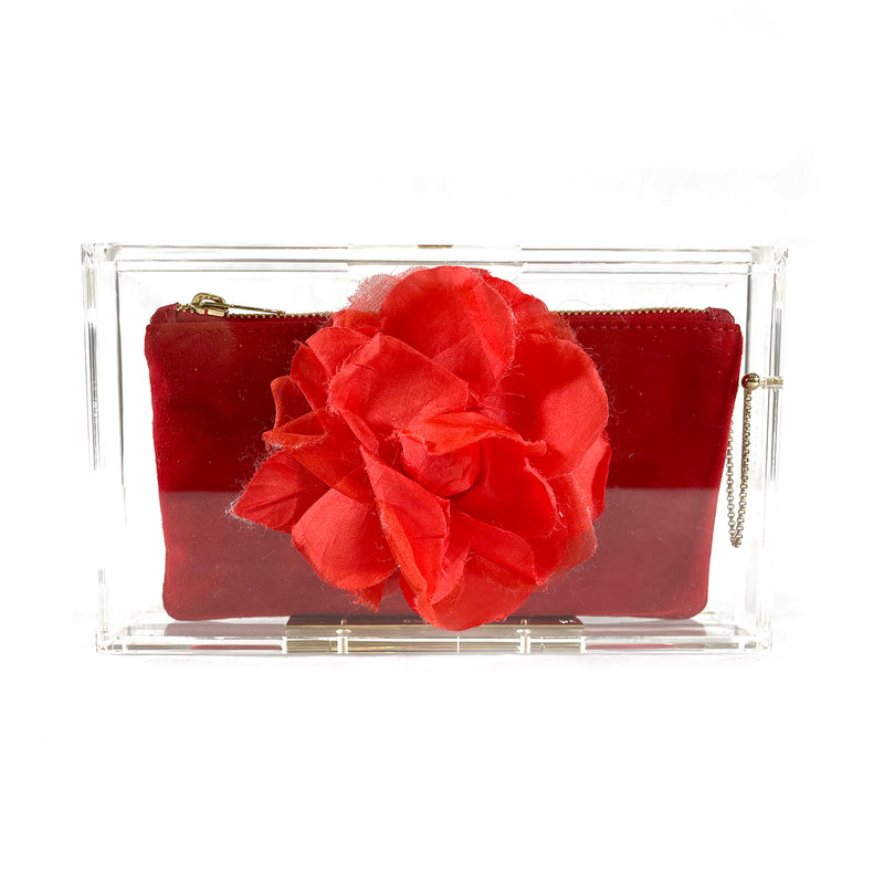 Charlotte Olympia transparent acrylic clutch with red suede wallet