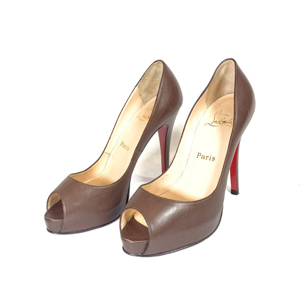 Christian Louboutin brown leather peep toe platform pumps