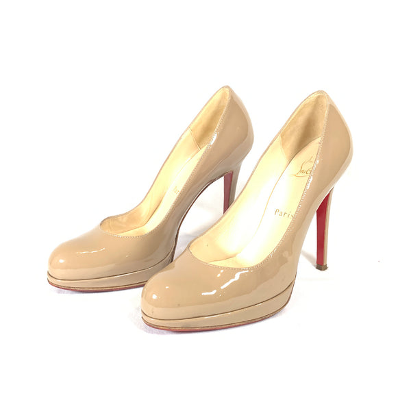 Christian Louboutin nude patent leather platform pumps