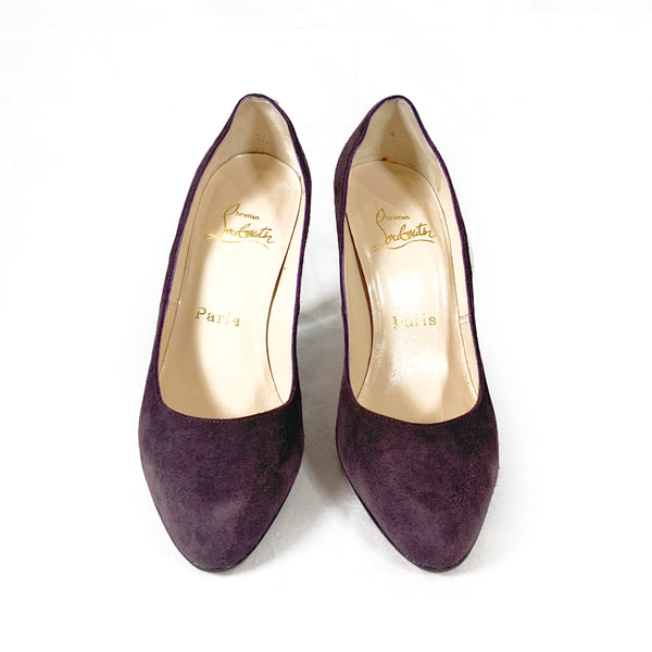 Christian Louboutin purple suede pumps