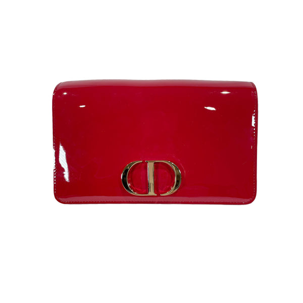 Christian Dior red patent leather clutch