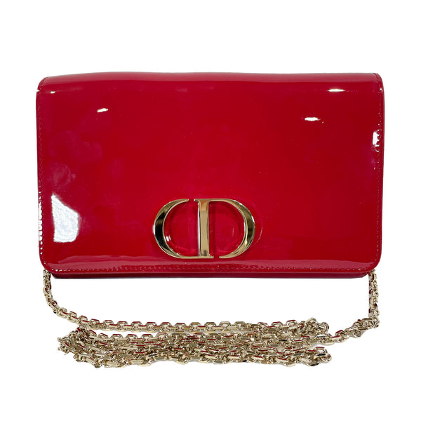 pre-owned Christian Dior red patent leather clutch