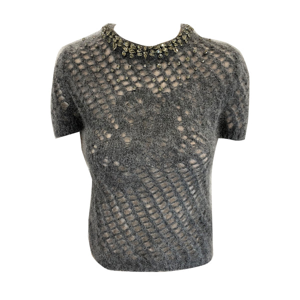 pre-owned Ermanno Scervino grey knitted top with embellished collar | Size XS