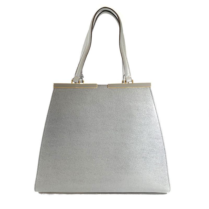 Fendi 2 Jours grey leather tote