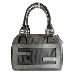 second hand FENDI black canvas Zucca Spalmati Forever Handbag
