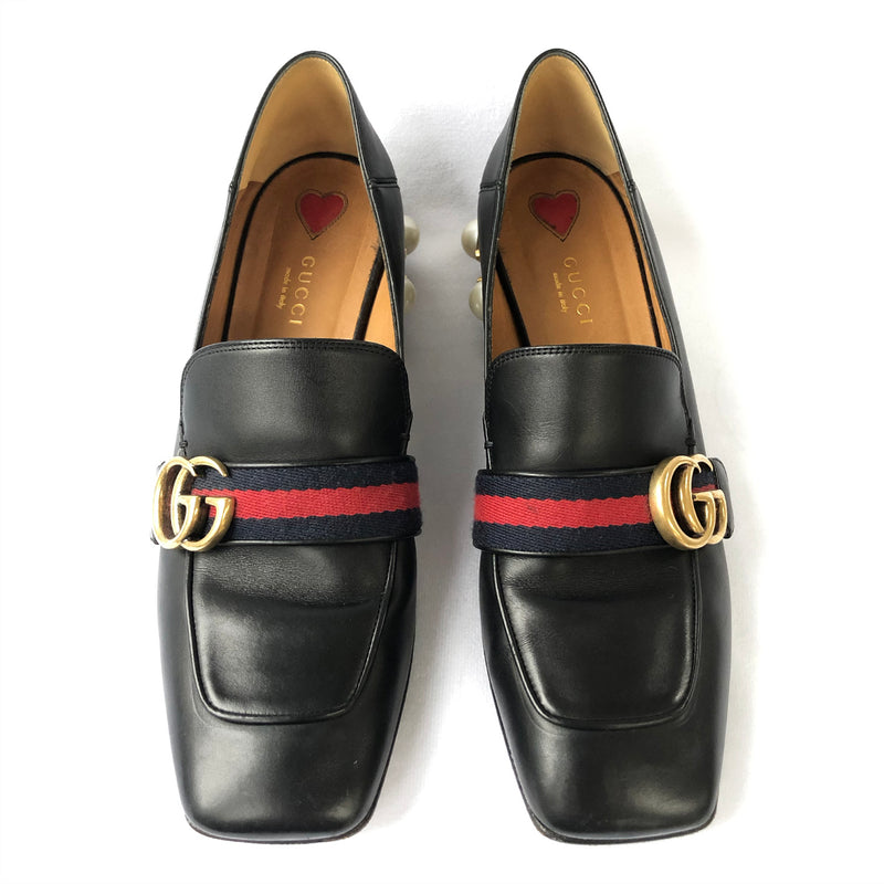 Gucci black Peyton mid-heel pearl and leather loafer | size 39.5