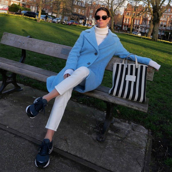 Hedvig Blogger from London wearing blue Sand Copenhagen Coat Second Hand